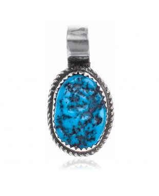 Natural Turquoise .925 Sterling Silver Certified Authentic Navajo Native American Handmade Pendant 18174-2