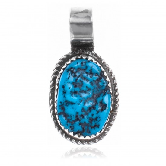 Natural Turquoise .925 Sterling Silver Certified Authentic Navajo Native American Handmade Pendant 18174-2 Pendants NB160207183203 18174-2 (by LomaSiiva)