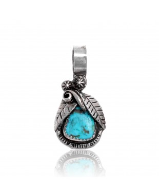 Natural Turquoise .925 Sterling Silver Certified Authentic Navajo Native American Handmade Pendant 24552