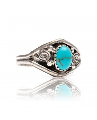 Natural Turquoise .925 Sterling Silver Certified Authentic Navajo Native American Handmade Ring 13204-2