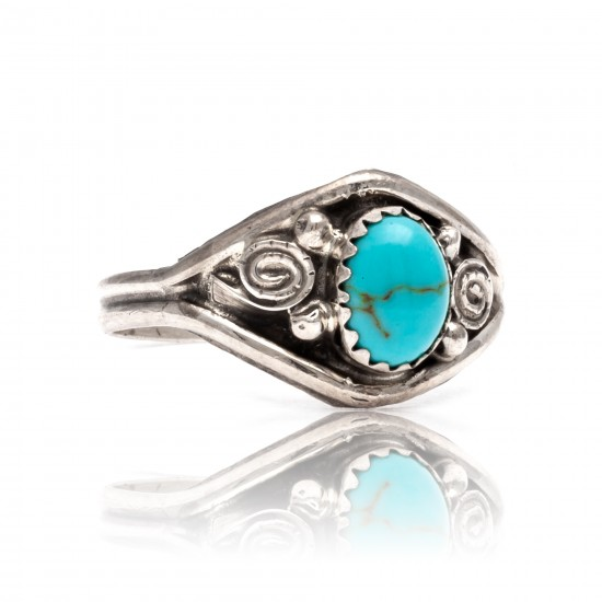 Natural Turquoise .925 Sterling Silver Certified Authentic Navajo Native American Handmade Ring 13204-2 All Products NB181009165417 13204-2 (by LomaSiiva)