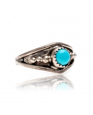 Natural Turquoise .925 Sterling Silver Certified Authentic Navajo Native American Handmade Ring 13204-4