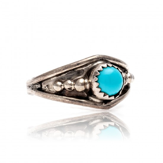 Natural Turquoise .925 Sterling Silver Certified Authentic Navajo Native American Handmade Ring 13204-4 All Products NB181009165424 13204-4 (by LomaSiiva)