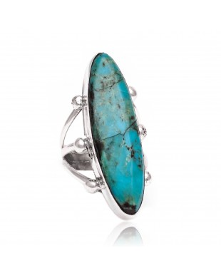 Natural Turquoise .925 Sterling Silver Certified Authentic Navajo Native American Handmade Ring 26235