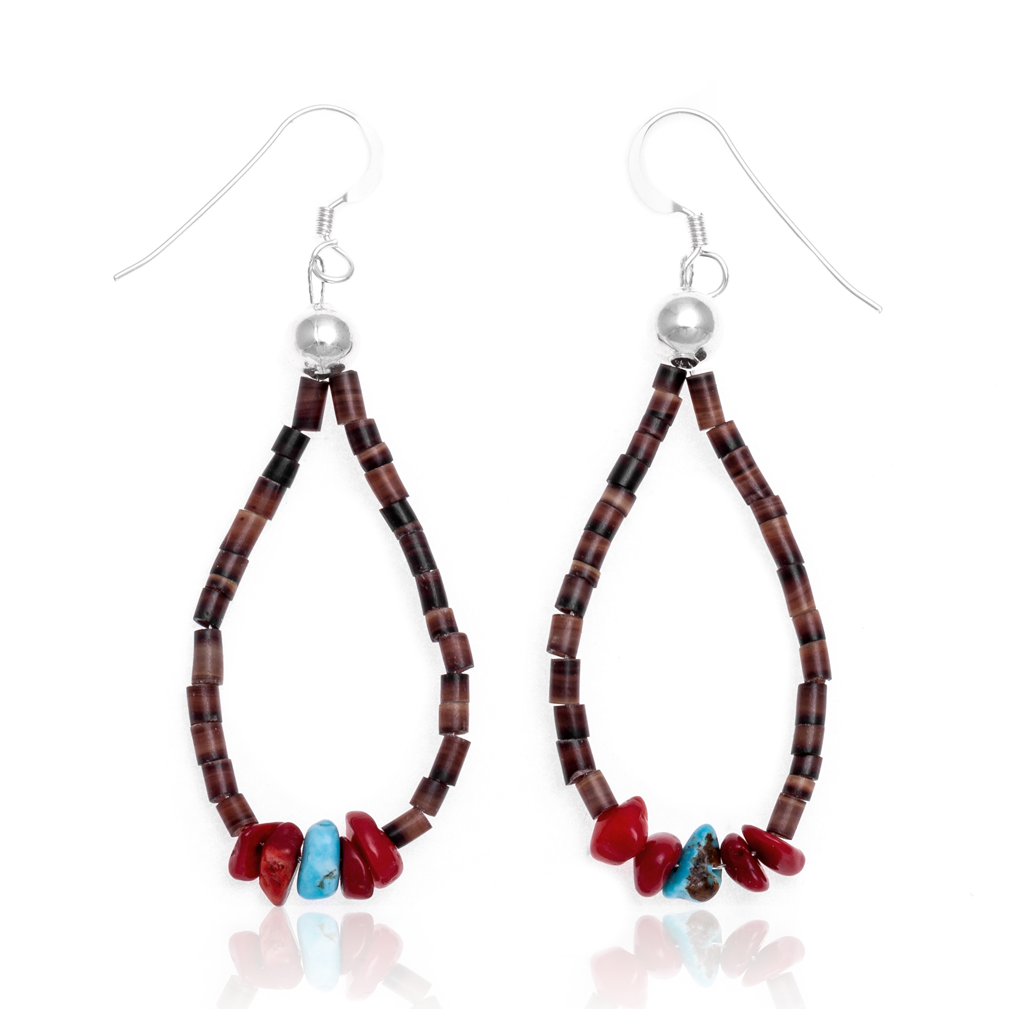Natural Turquoise and Coral .925 Sterling Silver Hooks Certified Authentic Navajo Native American Hoop Dangle Earrings 18337 All Products NB18337 18337 (by LomaSiiva)
