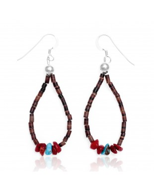 Natural Turquoise and Coral .925 Sterling Silver Hooks Certified Authentic Navajo Native American Hoop Dangle Earrings 18337