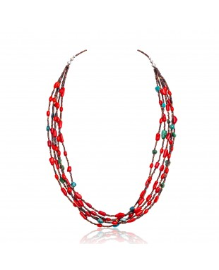 Natural Turquoise and Coral Certified Authentic Navajo .925 Sterling Silver Native American 5 Strand Necklace 370990894086