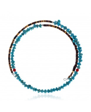 Natural Turquoise and Coral Certified Authentic Navajo Native American Adjustable Choker Wrap Necklace 25581