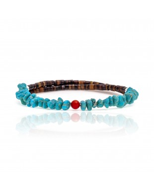 Natural Turquoise and Coral Certified Authentic Navajo Native American Adjustable Wrap Bracelet 22131