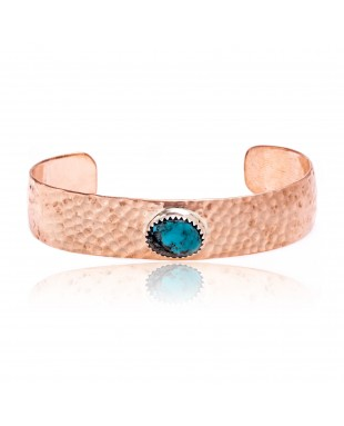 Natural Turquoise and Hammered Copper Certified Authentic Navajo Native American Handmade Cuff Bracelet 24494-6