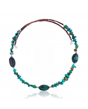 Natural Turquoise Certified Authentic Navajo Native American Adjustable 3 Stone Choker Wrap Necklace 25498