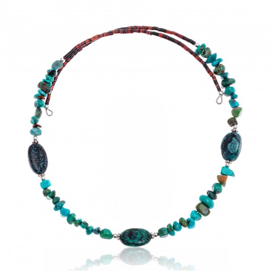 Natural Turquoise Certified Authentic Navajo Native American Adjustable 3 Stone Choker Wrap Necklace 25498 All Products NB180926223226 25498 (by LomaSiiva)