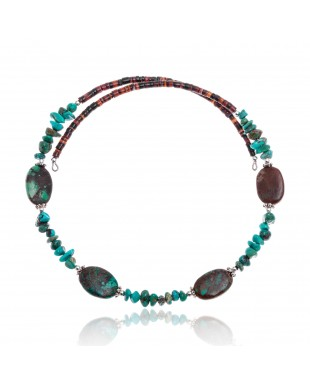 Natural Turquoise Certified Authentic Navajo Native American Adjustable 4 Stone Choker Wrap Necklace 25499