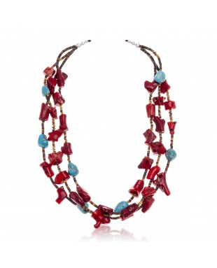 Natural Turquoise, Coral .925 Sterling Silver Certified Authentic Navajo Native American 3 Strand Necklace 25507