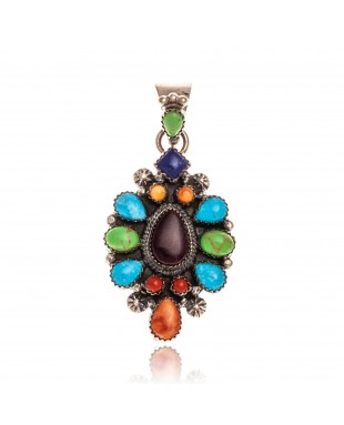 Natural Turquoise Multicolor Stone .925 Starling Silver Certified Authentic Navajo Native American Handmade Pendant 24522
