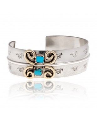 Natural Turquoise Nickel Brass Certified Authentic Navajo Native American Handmade Horse Bracelet 13031-5