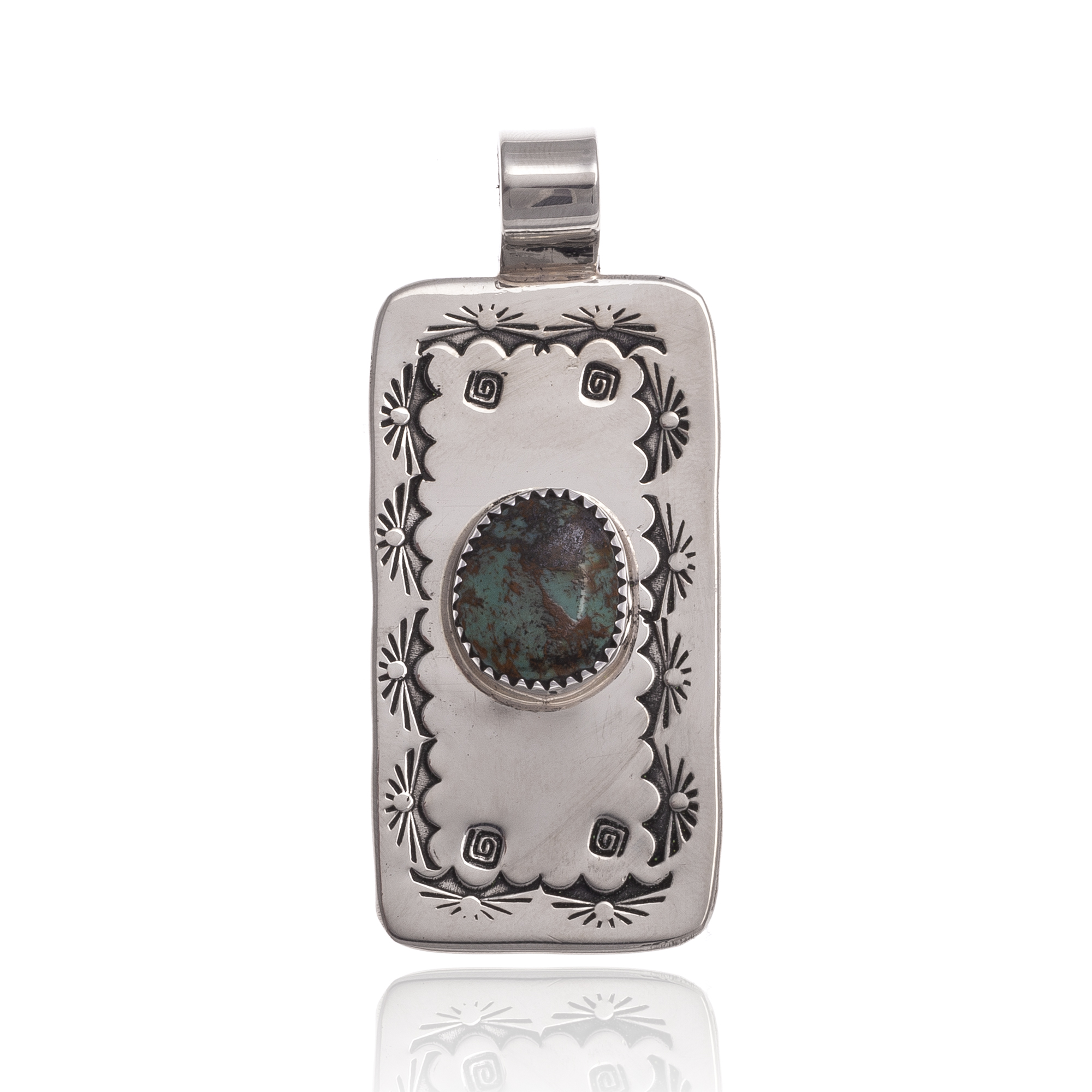 Natural Turquoise Nickel Certified Authentic Navajo Native American Handmade Pendant 12810-8 Pendants NB151224223307 12810-8 (by LomaSiiva)