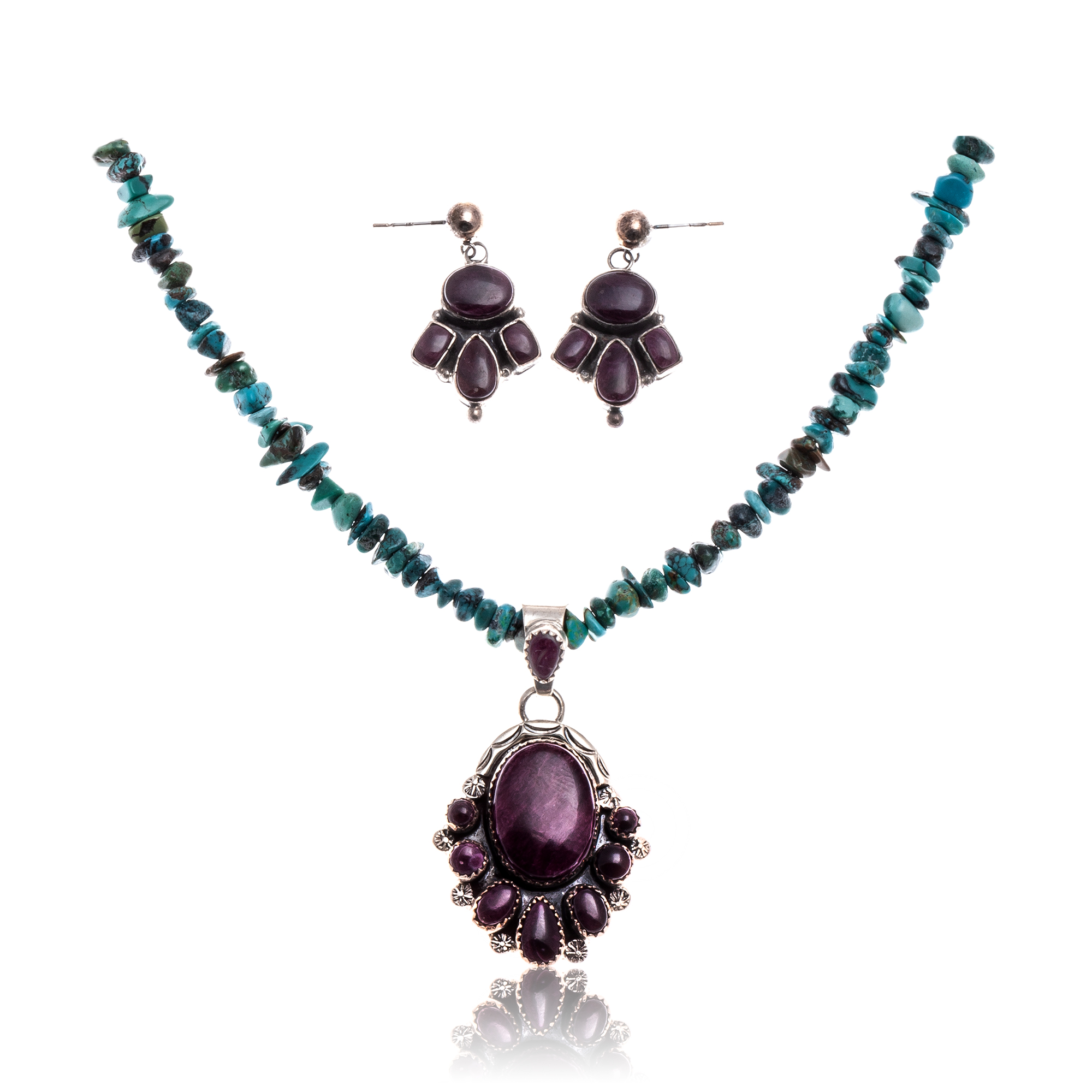 Natural Turquoise Purple Spiny Oyster .925 Sterling Silver Certified Authentic Navajo Native American Handmade Pendant Earnings Set 24519-15222-18198-10 Sets NB1809262232260 24519-15222-18198-10 (by LomaSiiva)