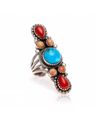 Natural Turquoise Red Spiny Oyster Orange Spiny Oyster .925 Sterling Silver Certified Authentic Navajo Native American Handmade Ring 13210-1