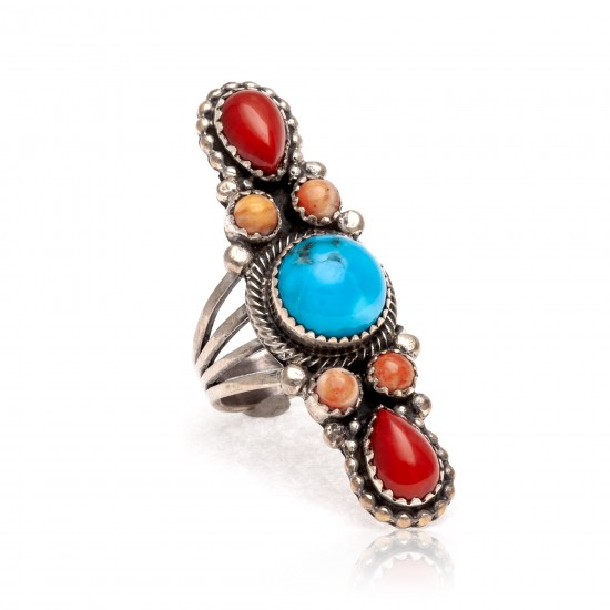 Natural Turquoise Red Spiny Oyster Orange Spiny Oyster .925 Sterling Silver Certified Authentic Navajo Native American Handmade Ring 13210-1 All Products NB181009165422 13210-1 (by LomaSiiva)