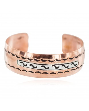 Navajo .925 Sterling Silver Certified Authentic Handmade Native American Pure Copper Bracelet 92005-17