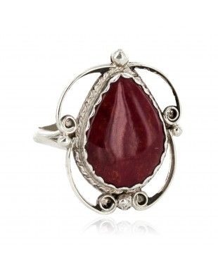 Navajo .925 Sterling Silver Certified Authentic Handmade Natural Red Jasper Native American Ring 18188-7