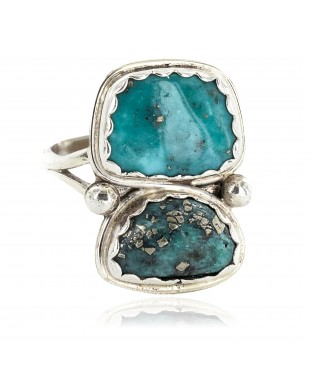 Navajo .925 Sterling Silver Certified Authentic Handmade Natural Turquoise Native American Ring 18187-5