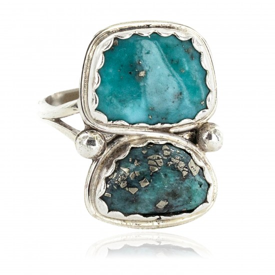 Navajo .925 Sterling Silver Certified Authentic Handmade Natural Turquoise Native American Ring 18187-5 All Products NB160212212953 18187-5 (by LomaSiiva)