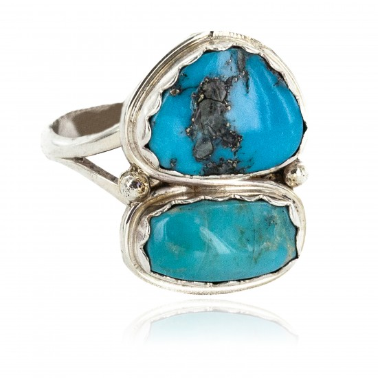 Navajo .925 Sterling Silver Certified Authentic Handmade Turquoise Native American Ring 18187-4 All Products NB160212211226 18187-4 (by LomaSiiva)