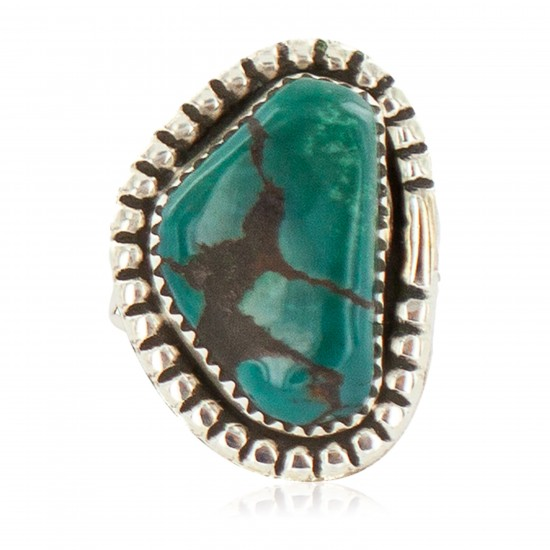 Navajo .925 Sterling Silver Certified Authentic Handmade Turquoise Native American Ring Size 8 1/2 18202-1 All Products NB160305213945 18202-1 (by LomaSiiva)