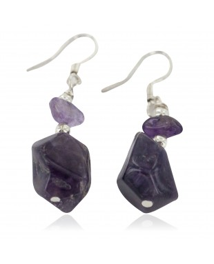 Navajo .925 Sterling Silver Certified Authentic Natural Amethyst Native American Dangle Earrings 18244-100