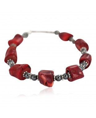 Navajo .925 Sterling Silver Certified Authentic Natural Hematite Coral Native American Bracelet 13176-1