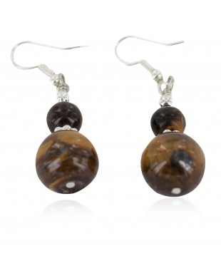 Navajo .925 Sterling Silver Certified Authentic Natural Tigers Eye Native American Dangle Earrings 17868