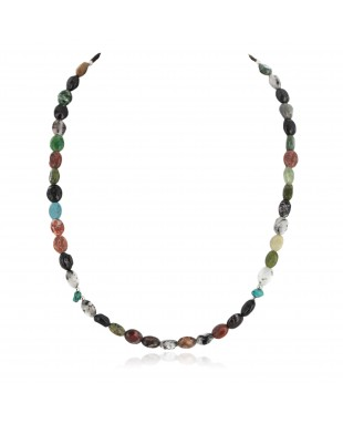 Navajo .925 Sterling Silver Certified Authentic Natural Turquoise Jasper Native American Multicolor Necklace 750203