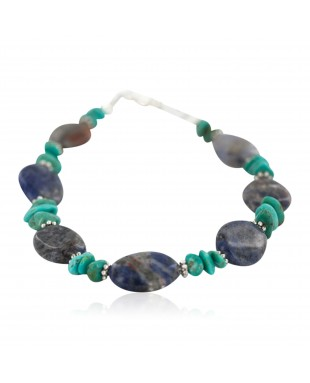 Navajo .925 Sterling Silver Certified Authentic Natural Turquoise Lapis Native American Bracelet 13174-2