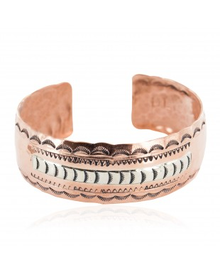 Navajo .925 Sterling Silver Hammered Certified Authentic Handmade Native American Pure Copper Bracelet 13055-6