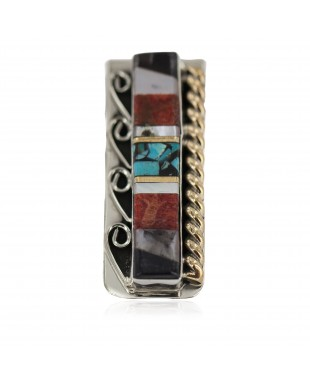 Navajo .925 Sterling Silver Handmade Certified Authentic Inlaid Natural Black Onyx Mother of Pearl Spiny Oyster Turquoise Native American Nickel and Brass Money Clip 91001-5