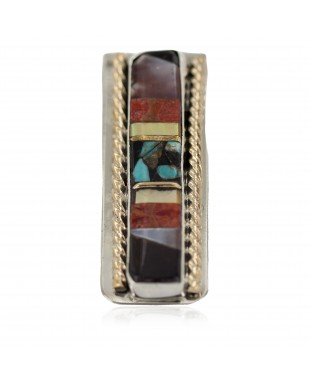 Navajo .925 Sterling Silver Handmade Certified Authentic Inlaid Natural Black Onyx Mother of Pearl Spiny Oyster Turquoise Native American Nickel and Brass Money Clip 91001-9