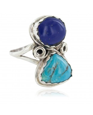 Navajo .925 Sterling Silver Handmade Certified Authentic Natural Turquoise Lapis Native American Ring 18187-101
