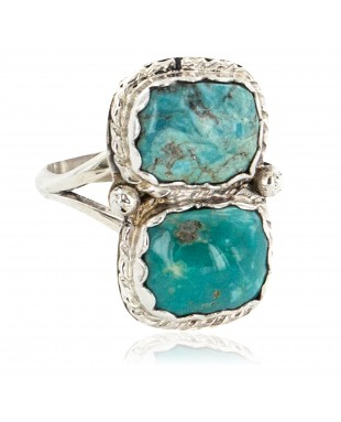 Navajo .925 Sterling Silver Handmade Certified Authentic Natural Turquoise Native American Ring 18187-3