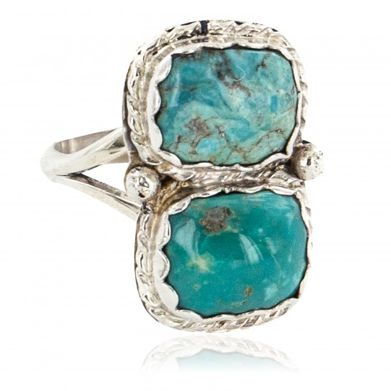 Navajo .925 Sterling Silver Handmade Certified Authentic Natural Turquoise Native American Ring 18187-3 All Products NB160212214040 18187-3 (by LomaSiiva)