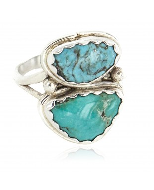 Navajo .925 Sterling Silver Handmade Certified Authentic Natural Turquoise Native American Ring 18187-9