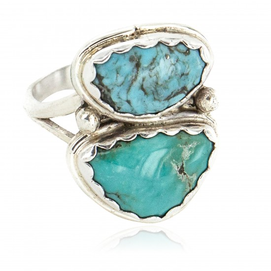 Navajo .925 Sterling Silver Handmade Certified Authentic Natural Turquoise Native American Ring 18187-9 All Products NB160212203527 18187-9 (by LomaSiiva)