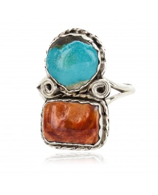 Navajo .925 Sterling Silver Handmade Certified Authentic Natural Turquoise Spiny Oyster Native American Ring 18187-12