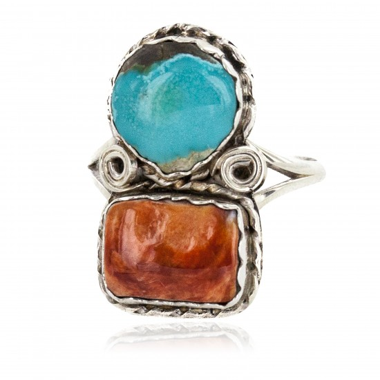 Navajo .925 Sterling Silver Handmade Certified Authentic Natural Turquoise Spiny Oyster Native American Ring 18187-12 All Products NB160212204058 18187-12 (by LomaSiiva)