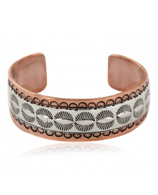 Navajo .925 Sterling Silver Handmade Certified Authentic Pure Copper Native American Bracelet 12986-2