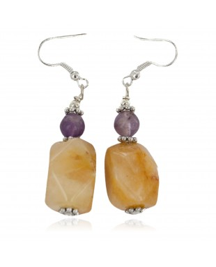 Navajo .925 Sterling Silver Hooks Certified Authentic Natural Agate Amethyst Native American Dangle Earrings 18252-7