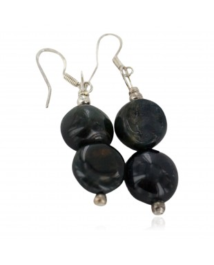 Navajo .925 Sterling Silver Hooks Certified Authentic Natural Agate Native American Dangle Earrings 18251-2