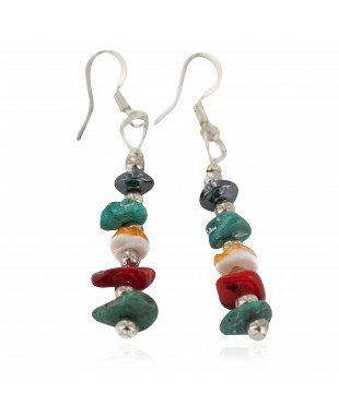 Navajo .925 Sterling Silver Hooks Certified Authentic Natural Turquoise Spiny Oyster Coral Hematite Native American Dangle Earrings 18251-6