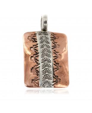 Navajo .925 Sterling Silver Sun Handmade Certified Authentic Pure Copper Native American Pendant 17055-2